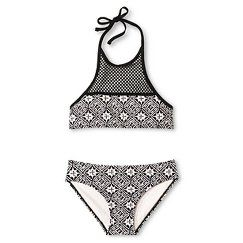 Girls' Tribal Print High Neck Bikini Set Black - Cleobella