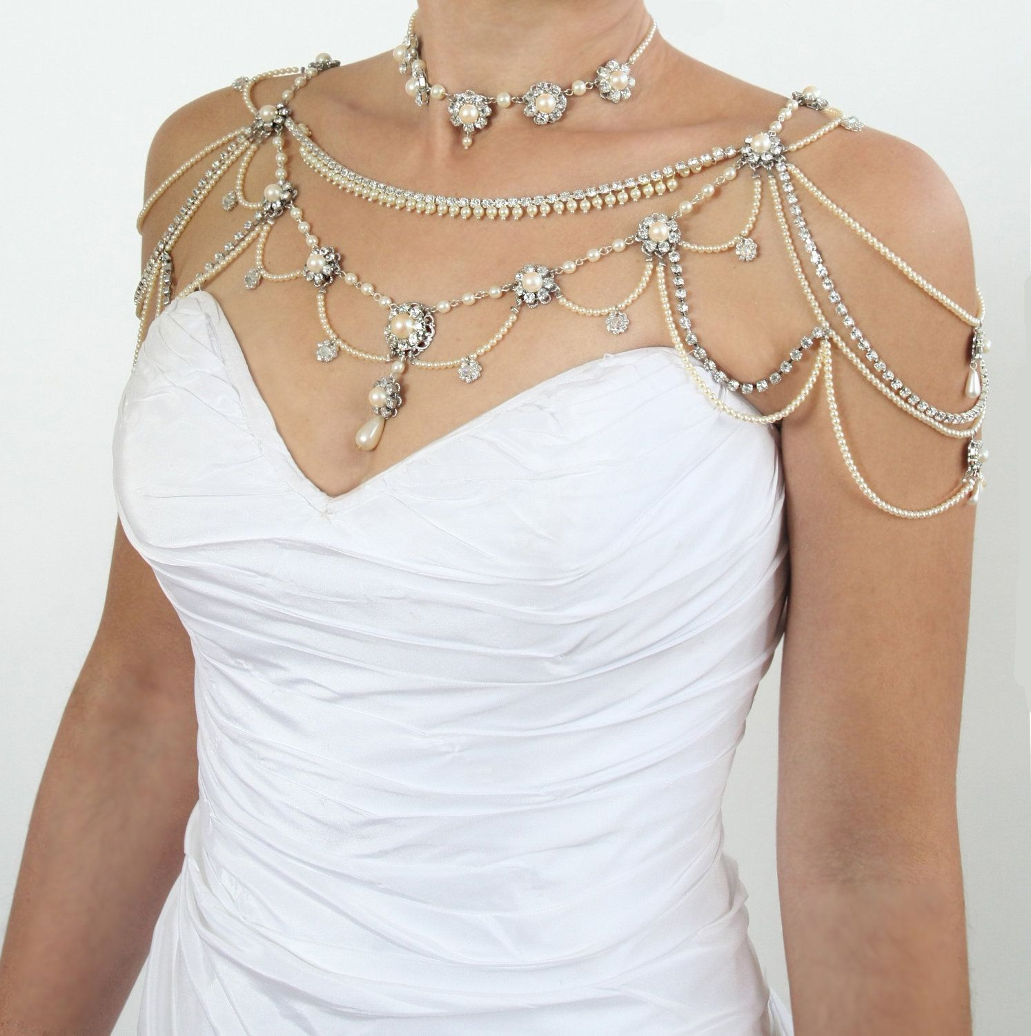 Necklace For The SHOULDERSBridal Victorian StylePearls Rhinestone