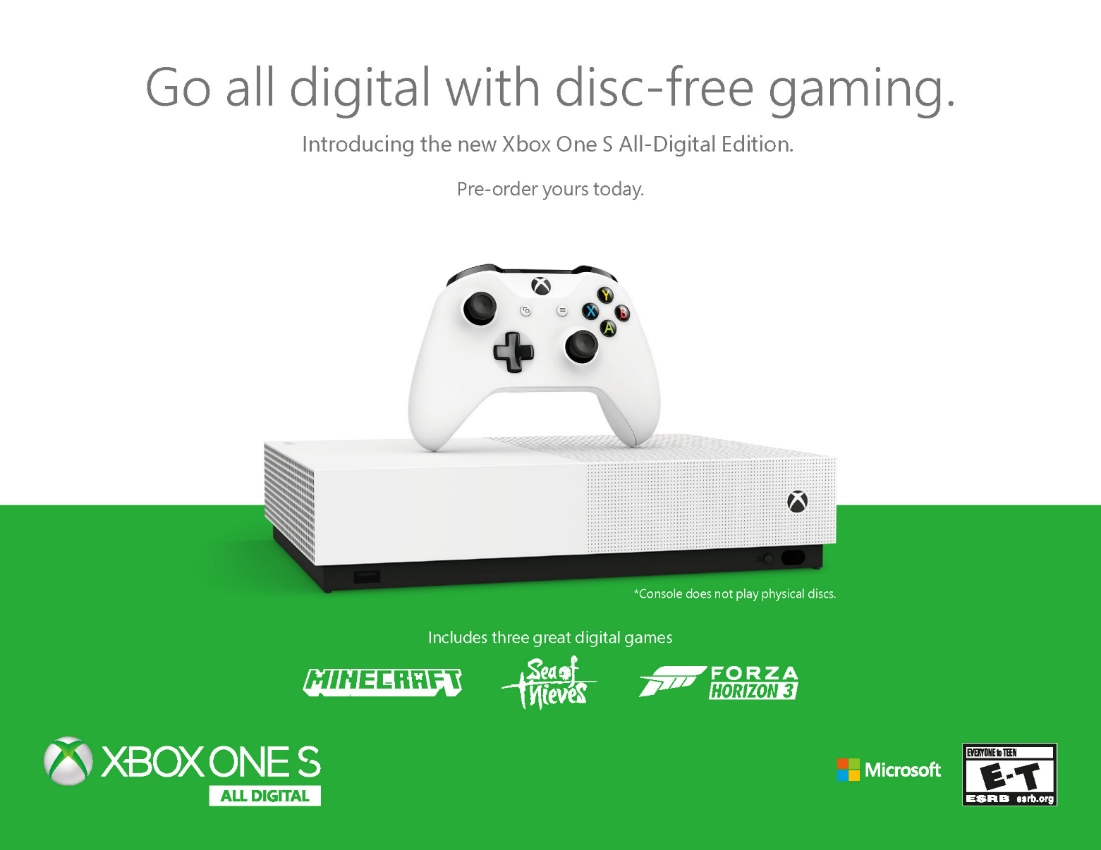 Introducing The Newest Member Of The Xbox One Family The Xbox One S All Digital Edition Xbox Wire Xbox One S Xbox One Xbox