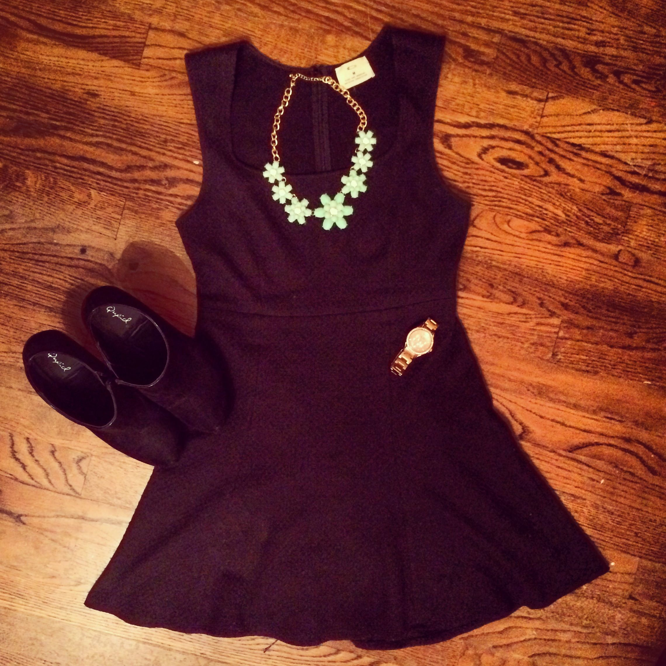 LBD: Little Black Dress from Urban Outfitters, Qupid black booties, Forever 21 turquoise floral statement necklace, Fossil rose gold watch