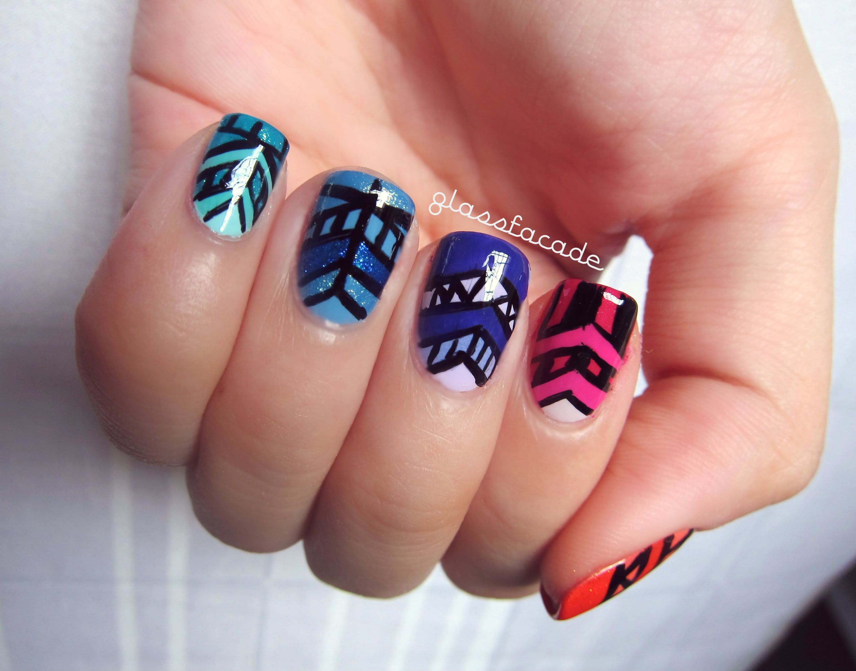 Different Design On Each Nail Tribal Nail Design With A Different