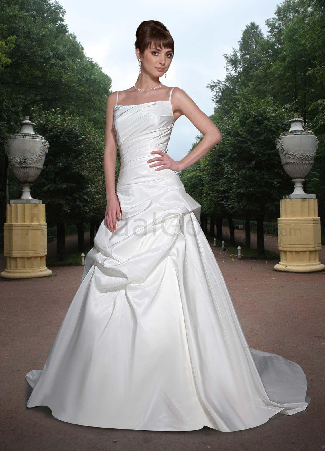 Satin aline square neckline rouched bodic wedding dress wedding