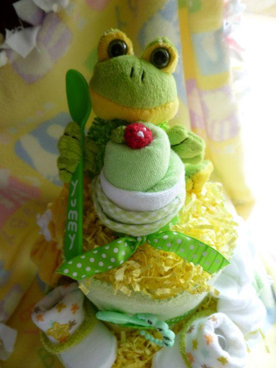 Frog Diaper Cake... Receiving Blanket Burp by mollbelldesigns, $53.75