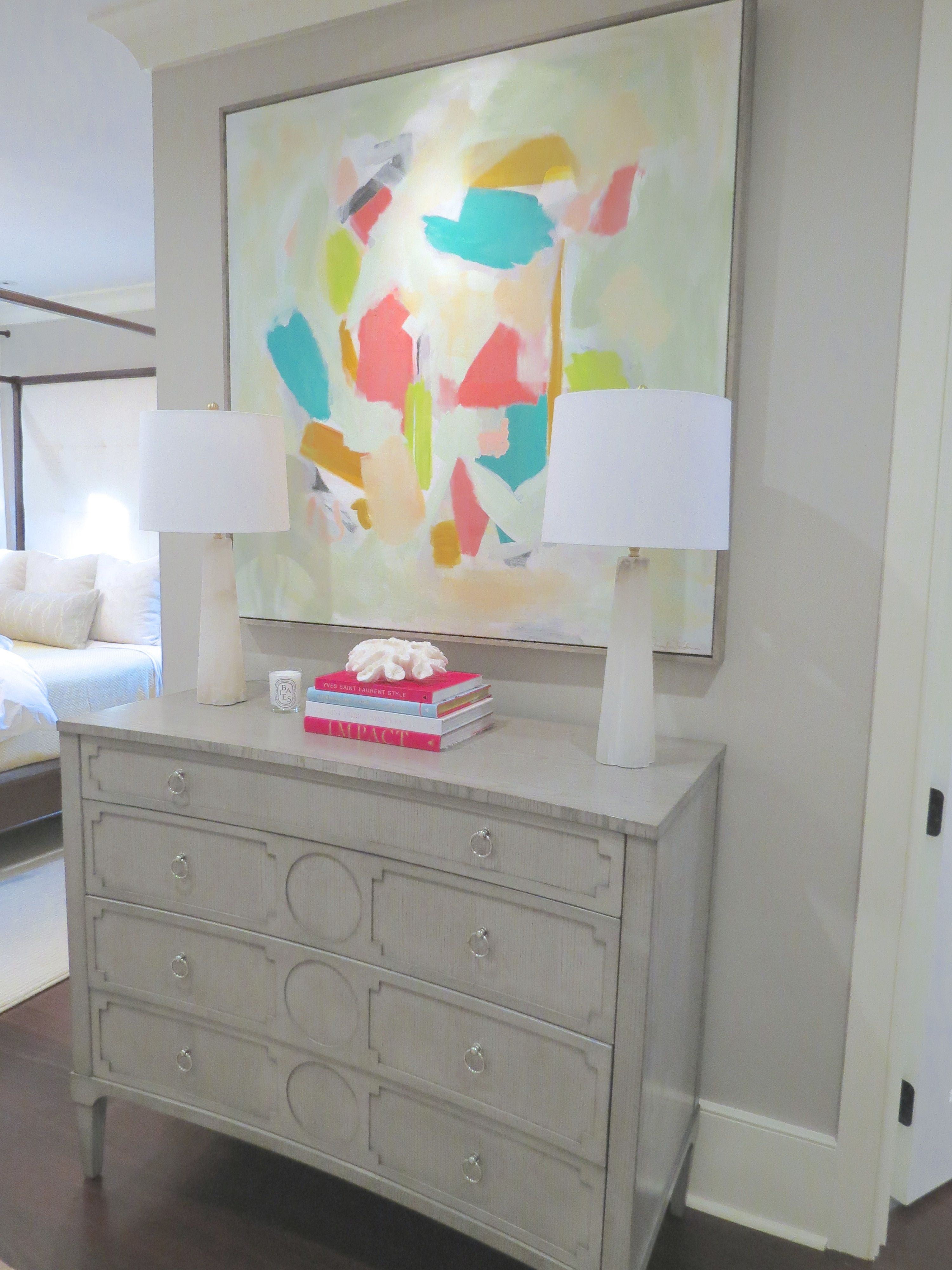Abstract art by Jennifer Latimer bedroom chest two lamps