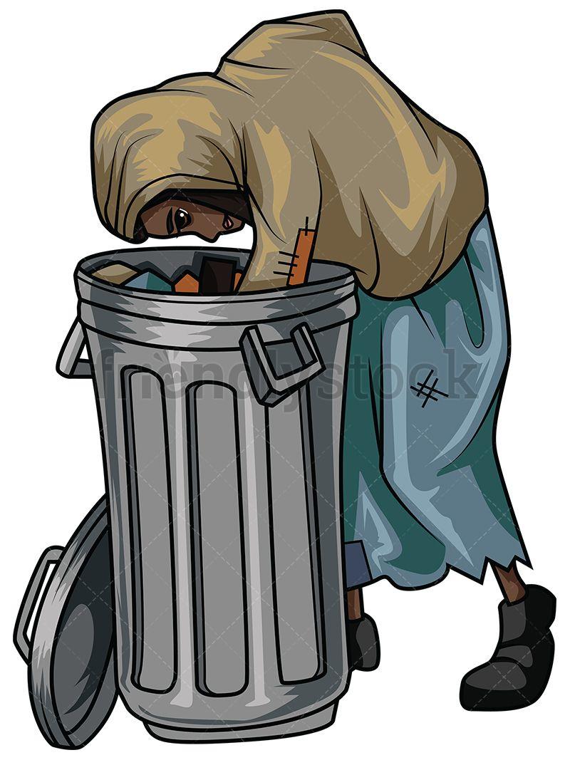 Poor Black Woman Looking In Trash Vector Cartoon Clipart ...
