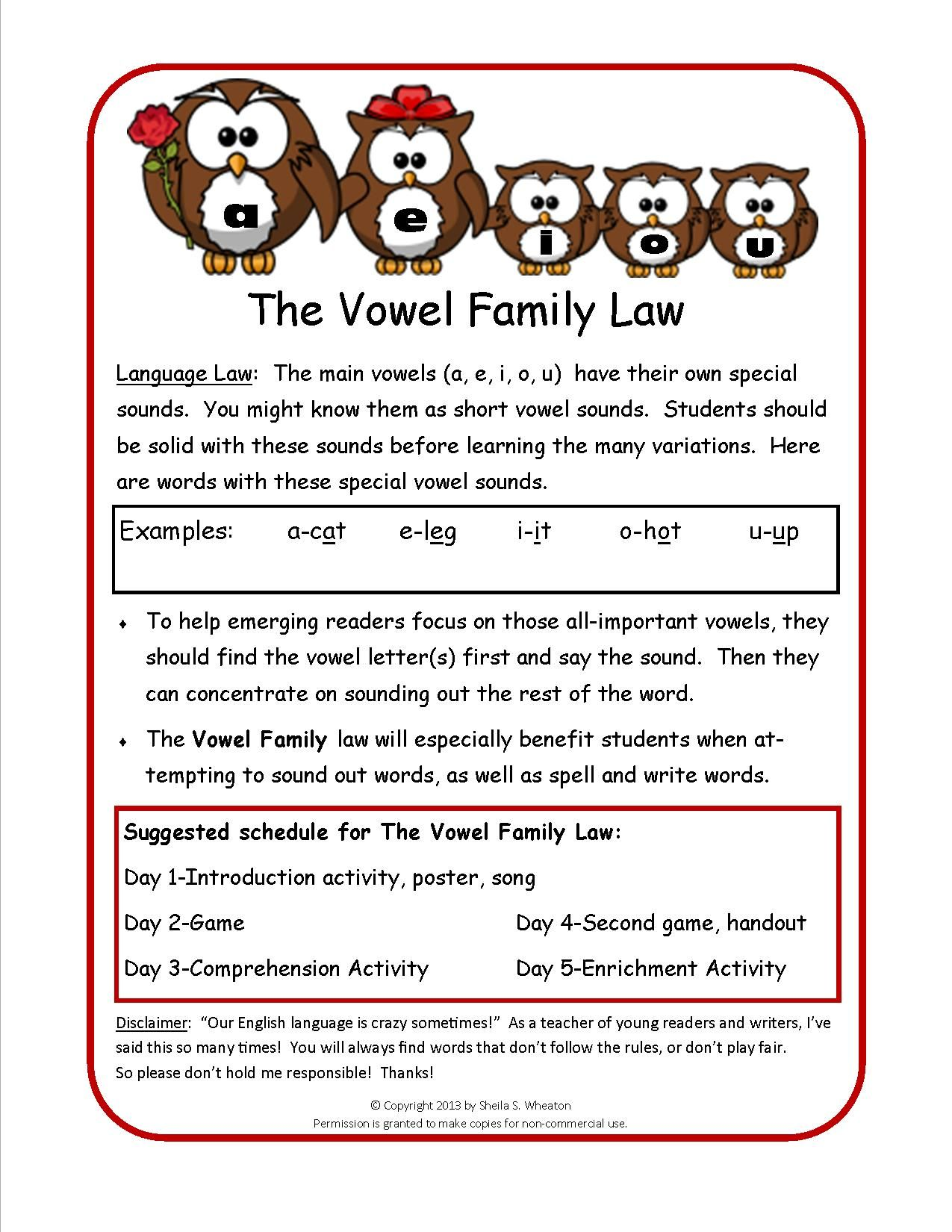 Language Law 2 The Vowel Family A E I O U