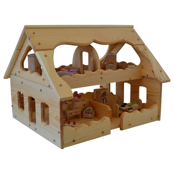 Wooden Dollhouse Montessori Wood Dollhouse Montessori Toys With 5 Rooms Of  Dollhouse
