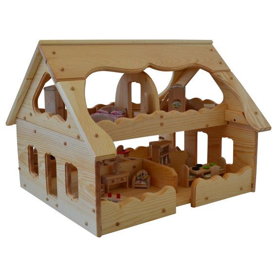 Holz Puppenhaus Montessori Holz Puppenhaus Montessori Spielzeug Mit 5  Zimmern Puppenhaus Möbel