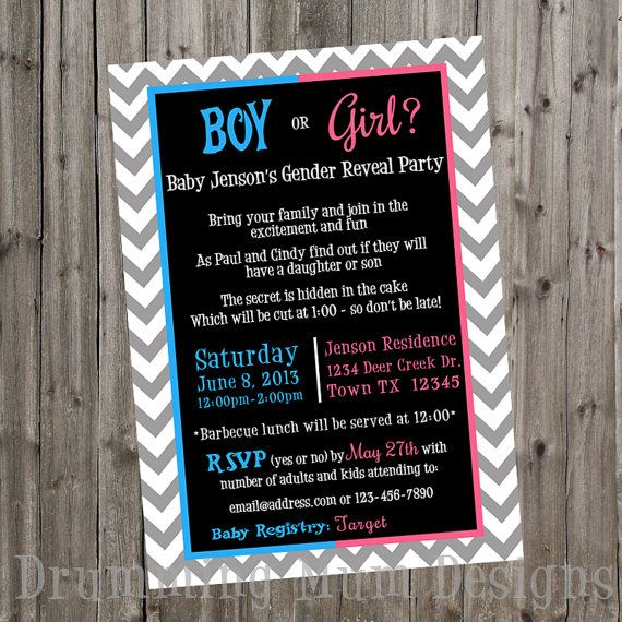 Pin By Wendy Hanenburg On Gender Reveal Party For L Gender Reveal Party Invitations Gender Reveal Gender Reveal Party