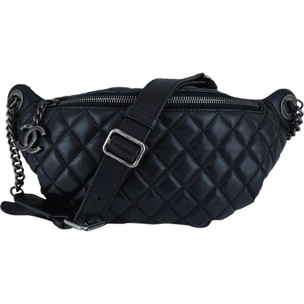 8b3b0cfe37ccf2 Pre-Owned Chanel Black Quilted Classic Fanny Pack Waist Bag ($2,499) ❤  liked on Polyvore featuring bags, black, chanel, leather bum bag, hardware  bag, ...