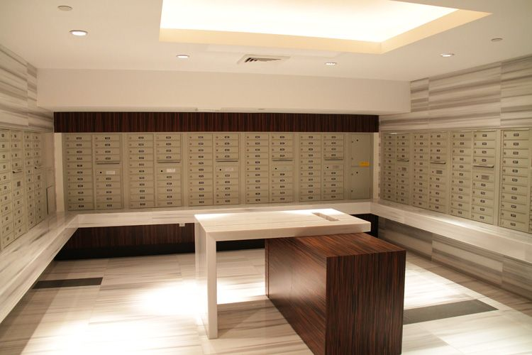 wood veneer in apartment mailroom - Google Search | Fitness ...