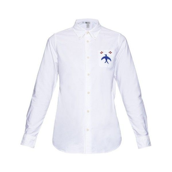 Visvim Long-sleeved bird-embroidery cotton shirt ($483) ❤ liked on Polyvore featuring tops, white, embroidered shirts, white top, long sleeve oxford shirt, white shirt and cotton button down shirts