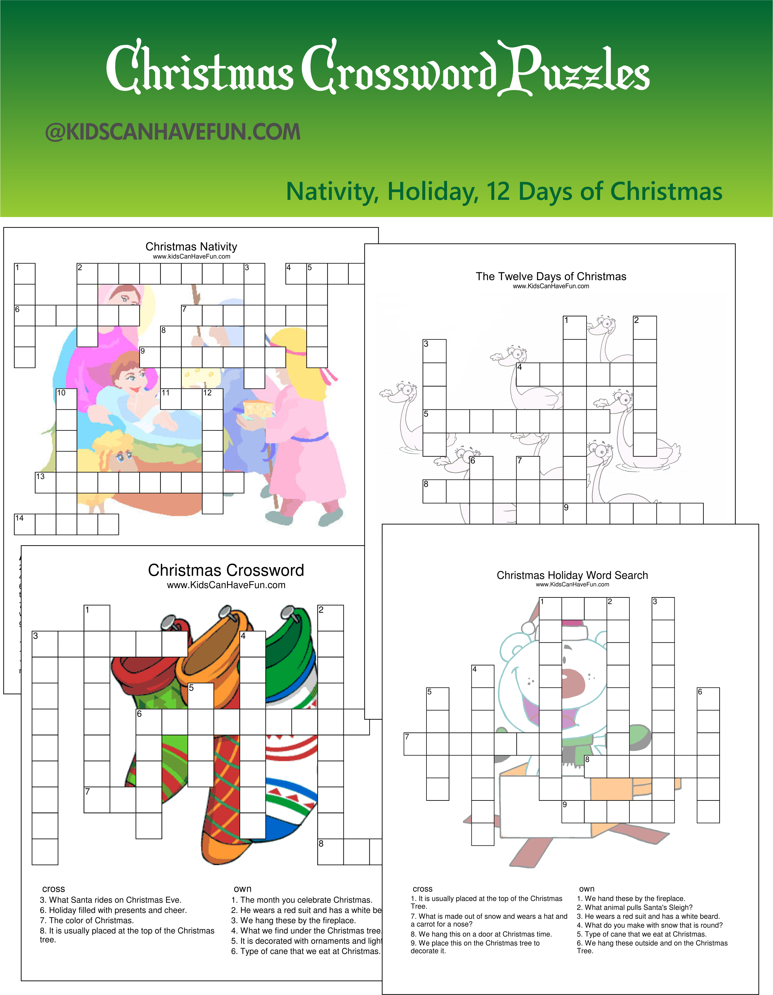 Christmas crossword puzzles for kids scanhavefun