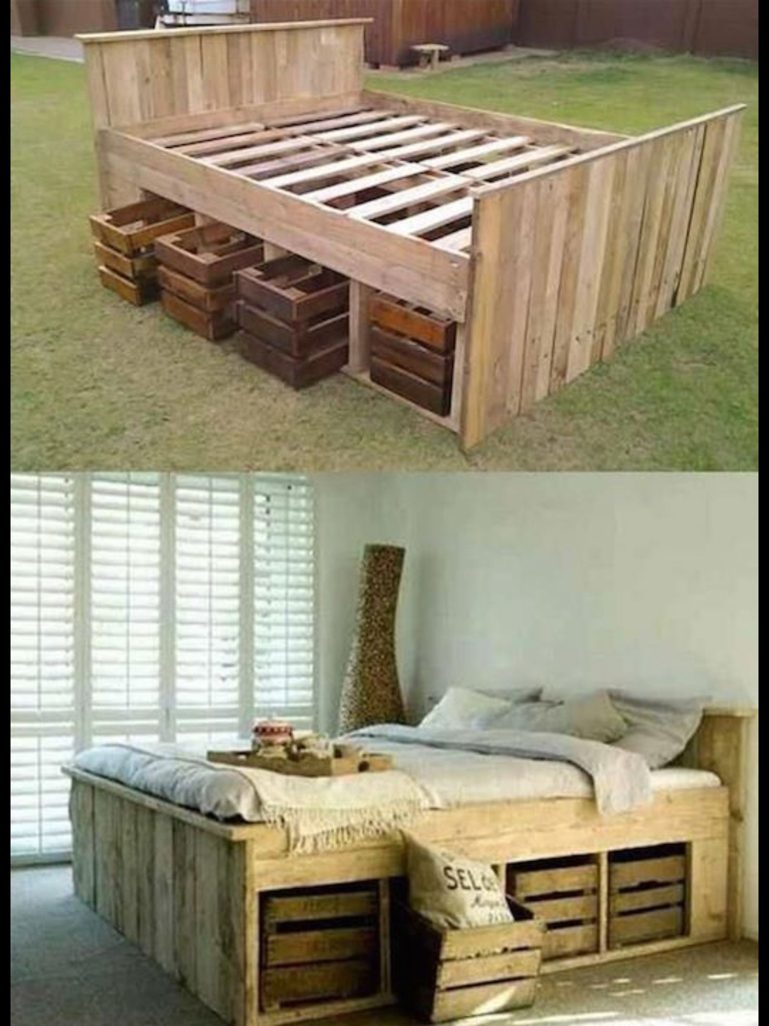 Crate bed with storage | cama | Pinterest | Camas, Dormitorio y ...