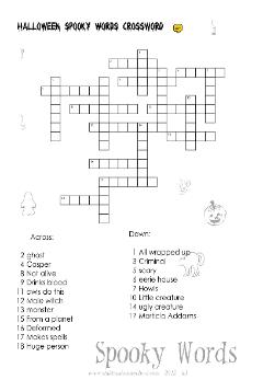 grade 5 halloween worksheet spooky words crossword - Words About Halloween