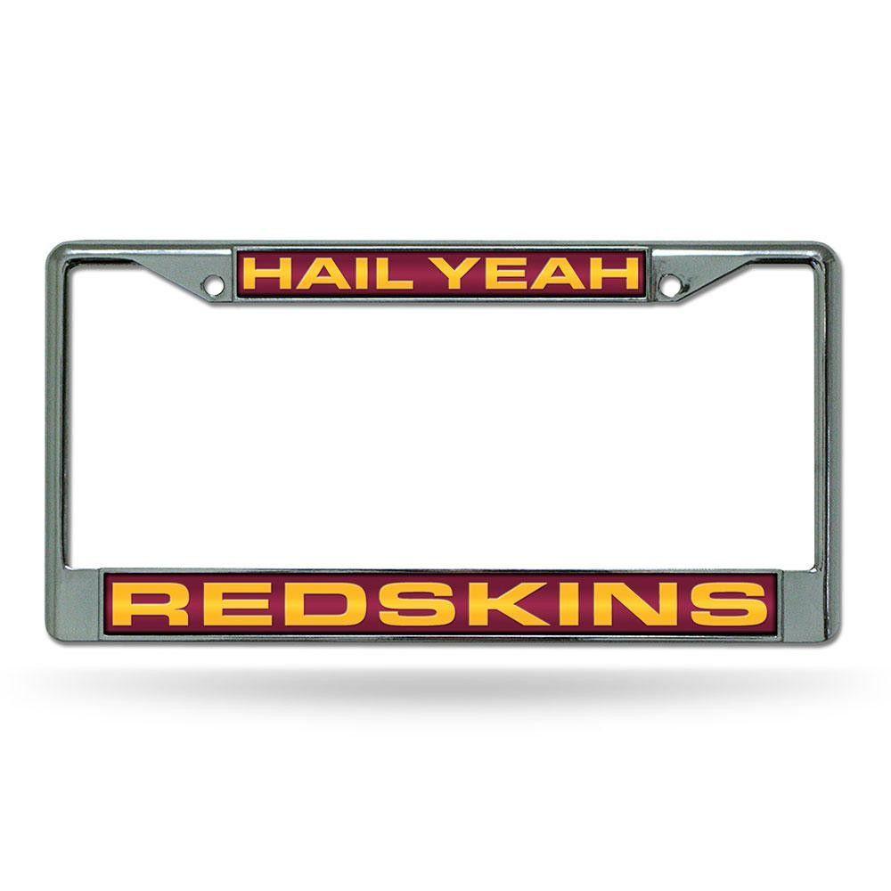 washington redskins nfl chrome laser cut license plate frame