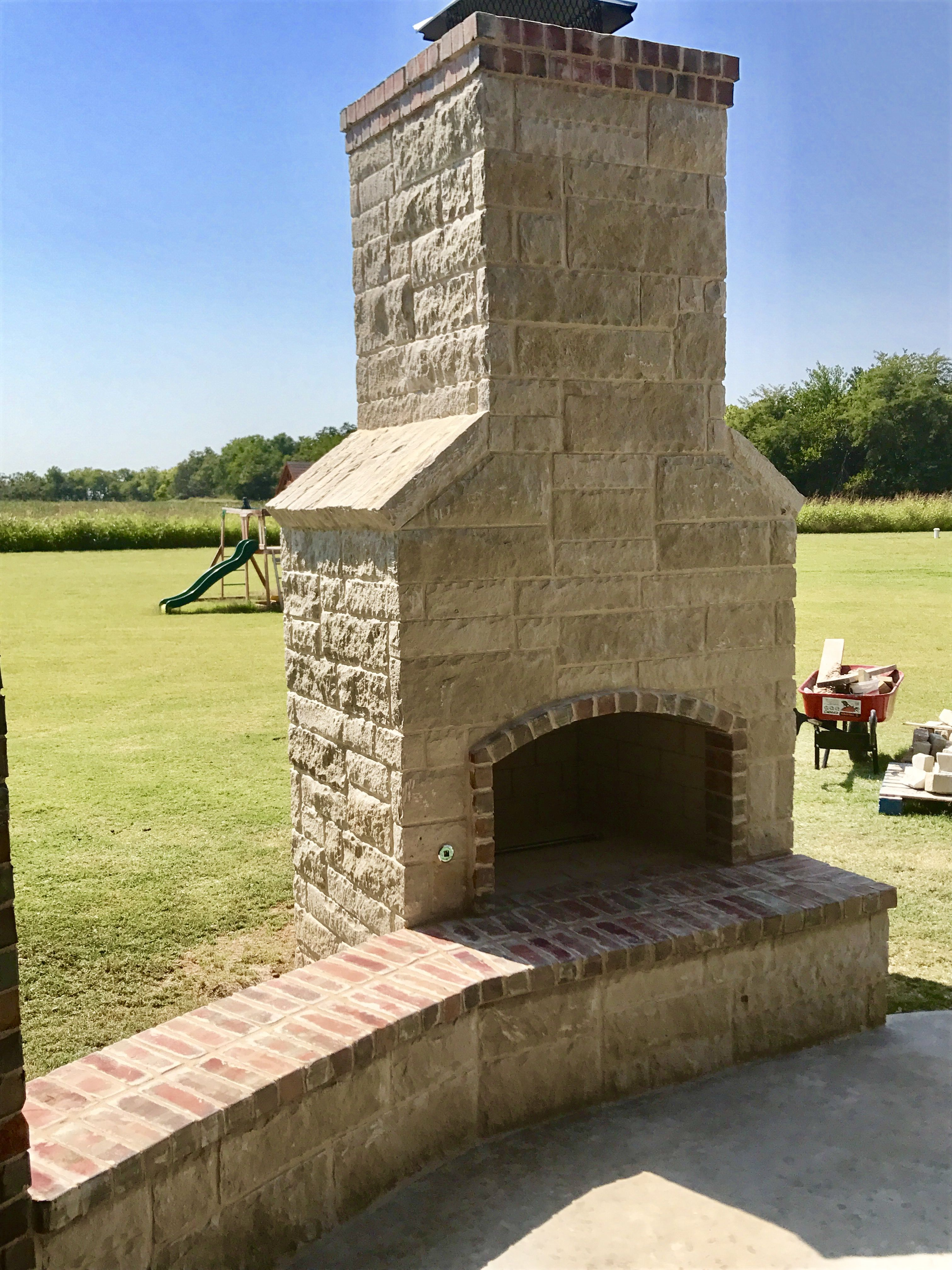 Pin By Pmhokc Com On Custom Outdoor Fireplaces Custom Fireplace Brick Fireplace Outdoor