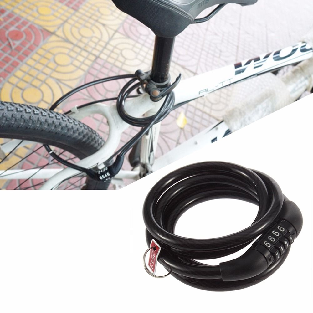 Wholesale 1pc 4 Digital Bike Code Cable Lock Cycling Bicycle