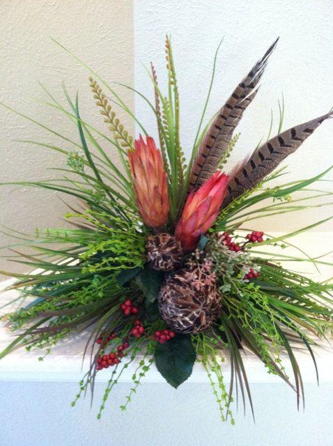 Handmade Repen Pods & Feathers Silk Floral Arrangement - Tile Topper Arrangement. $52.00, via Etsy.