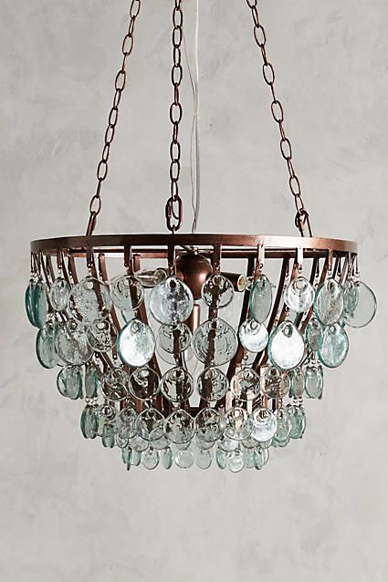 Glass Scale Chandelier - anthropologie l Beach Home Lighting l www.DreamBuildersOBX.com