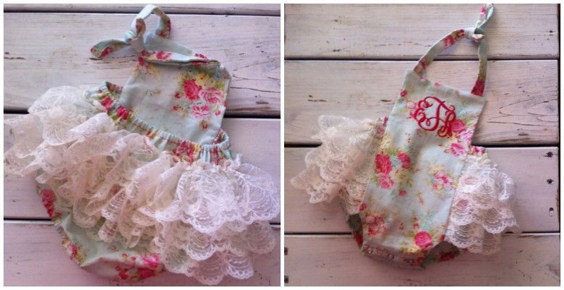 Handmade Monogrammed Baby Girl Aqua Floral Romper with Lace Ruffles | ToAdorn.com