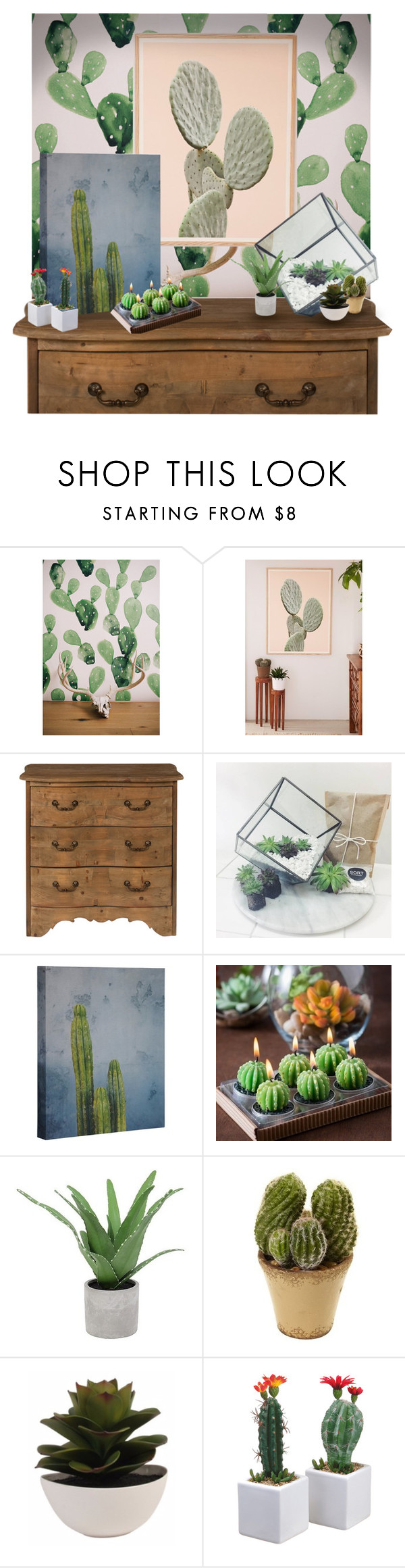 """""""CACTUS DECOR"""" by newconcettodimoda ❤ liked on Polyvore featuring interior, interiors, interior design, home, home decor, interior decorating, Urban Outfitters, Threshold and Nearly Natural"""