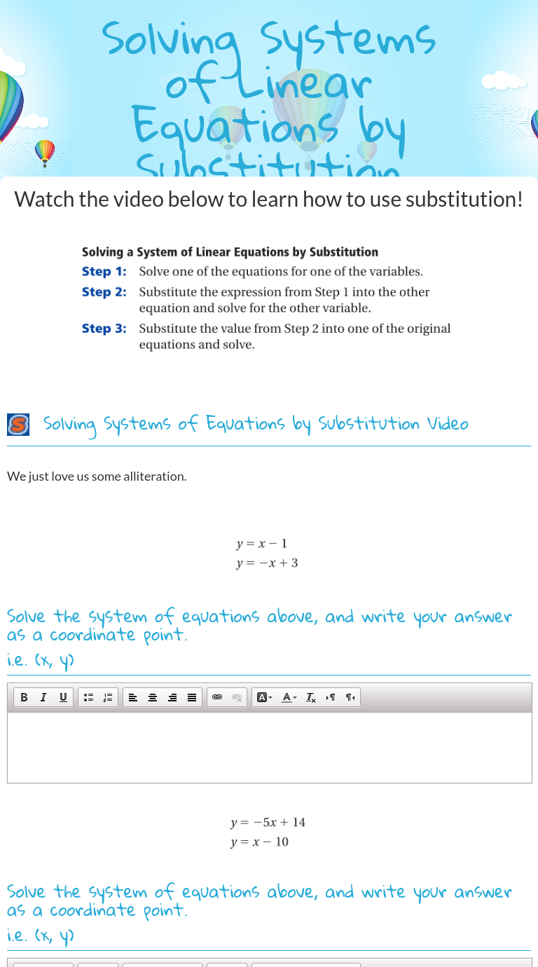 "wizer blended worksheet ""solving systems of linear equations by"