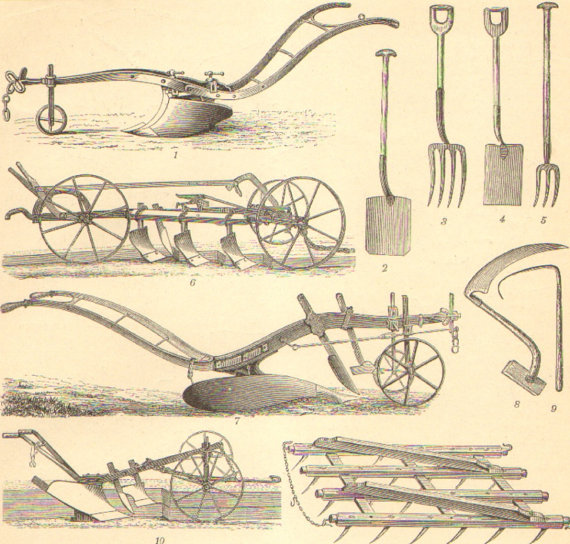 1896 Agricultural Machinery Agricultural Equipment Antique Engraving To Frame Old Farm Equipment Tractor Pictures Farm Equipment