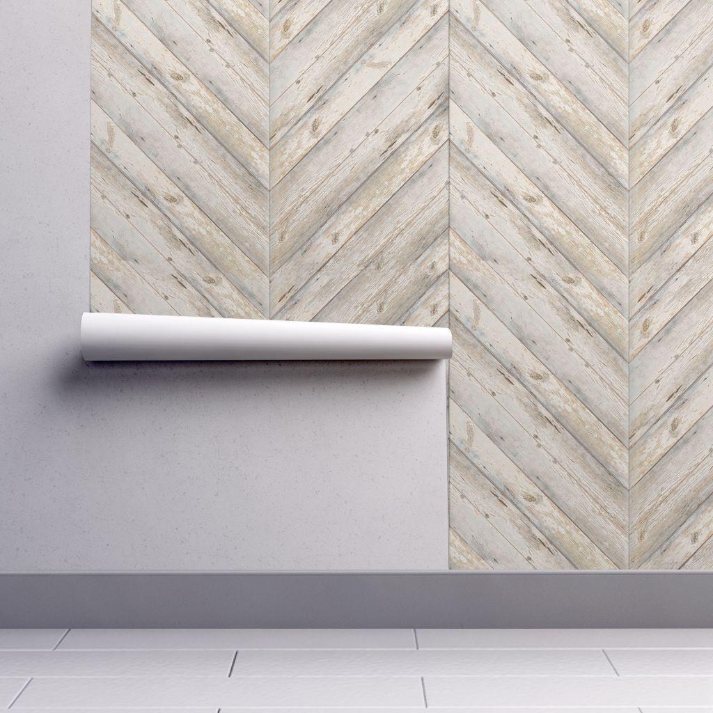 Whitewashed Herringbone Planks In 2020 Self Adhesive Wallpaper Wallpaper Roll Shiplap