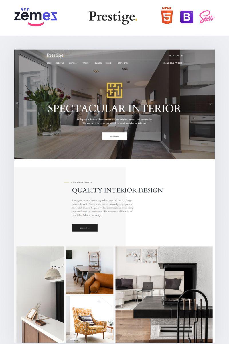 Prestige   Interior Design Studio Website Template in 2020 ...