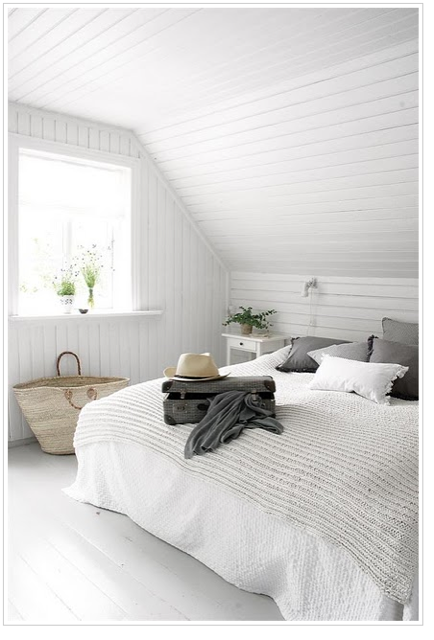 The Bead Board Walls And Ceiling Add Noise And Shadow Lines To Classic White Plus A Splash Of Grey Home Bedroom Bedroom Interior Home