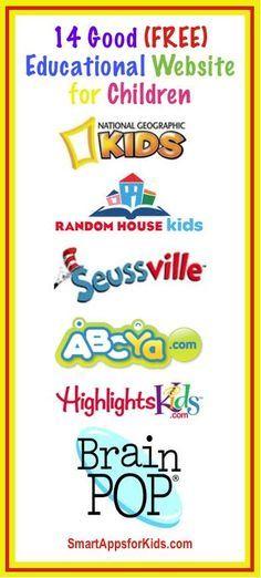 Updated!! Top 14 Free Educational Websites for Kids http://www.smartappsforkids.com/2014/04/ten-good-free-educational-websites-for-kids.html