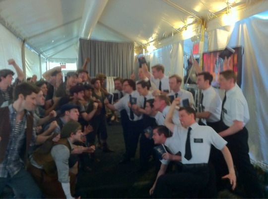 Newsies vs Mormons, backstage at a rehearsal for the Tony Awards