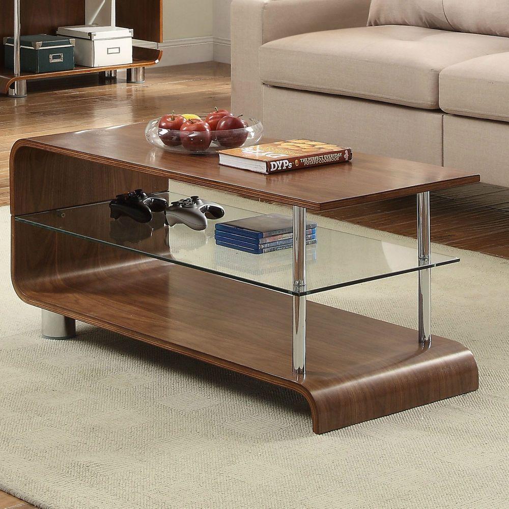 Wooden Coffee Table Walnut Finish Gl Steel Wood Living Room Shelf Furniture