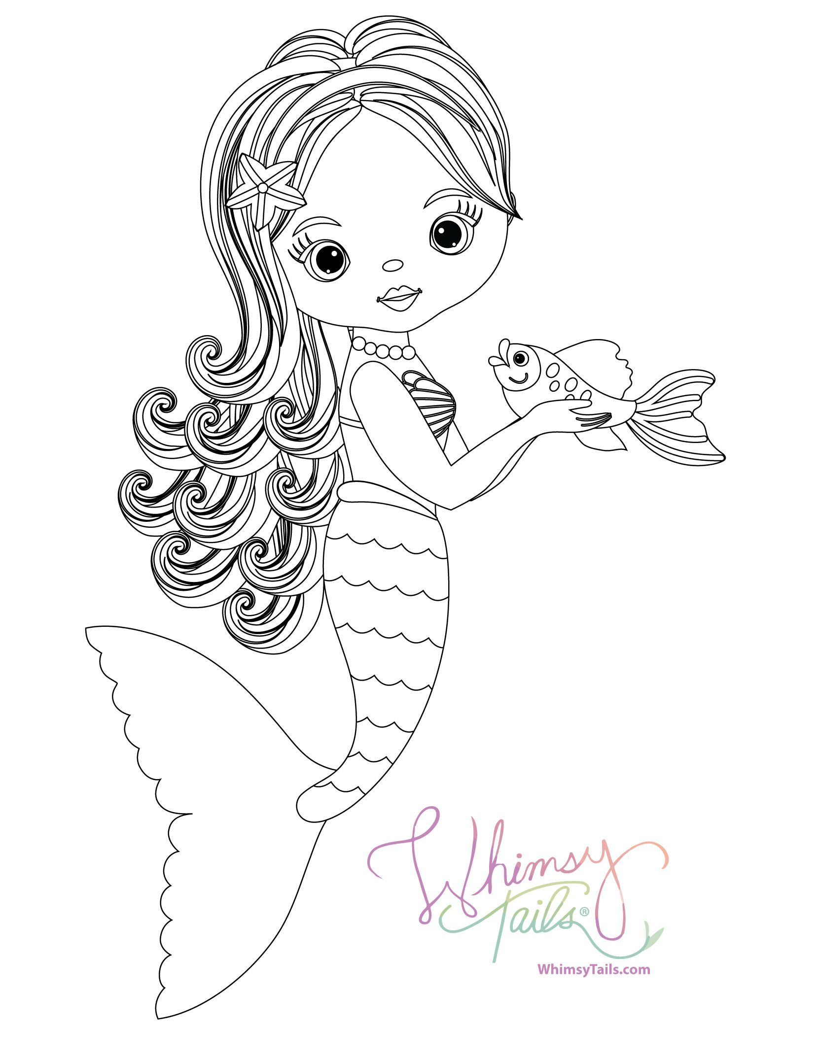 Mermaid holding her pet fish free coloring book page free