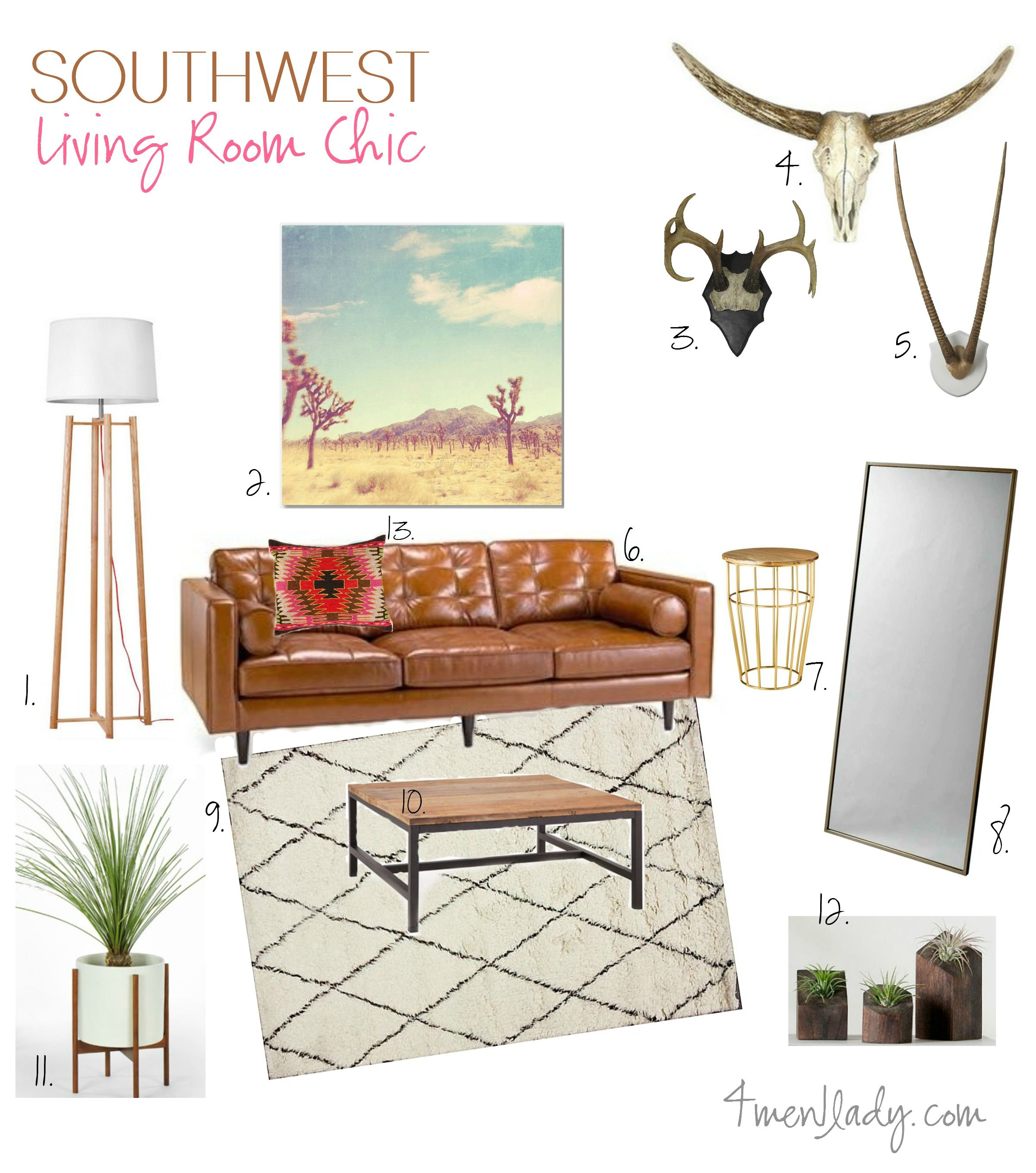 Southwest Living Room Mood Board. 4men1lady.com