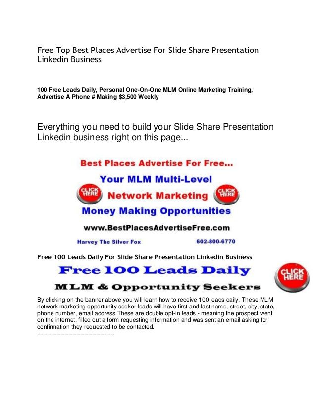 Free Top Best Places Advertise For Slide Share Presentation ...