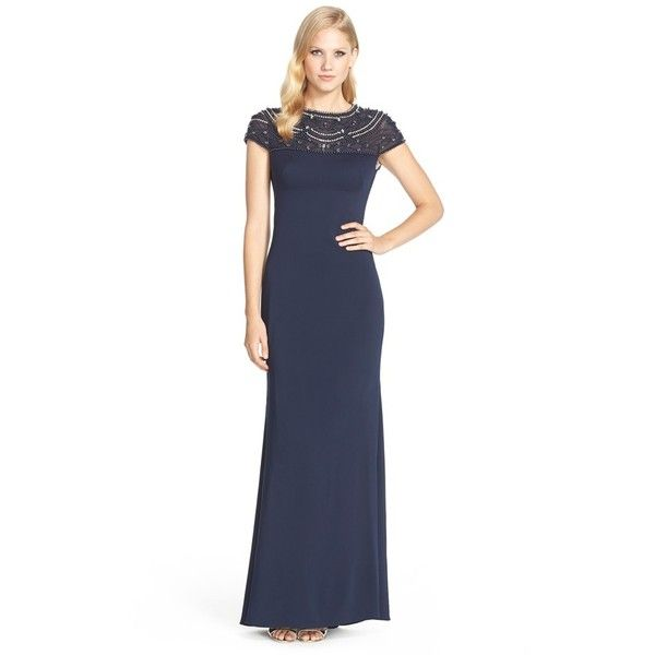 JS Collections Embellished Illusion Yoke Gown ($227) ❤ liked on ...