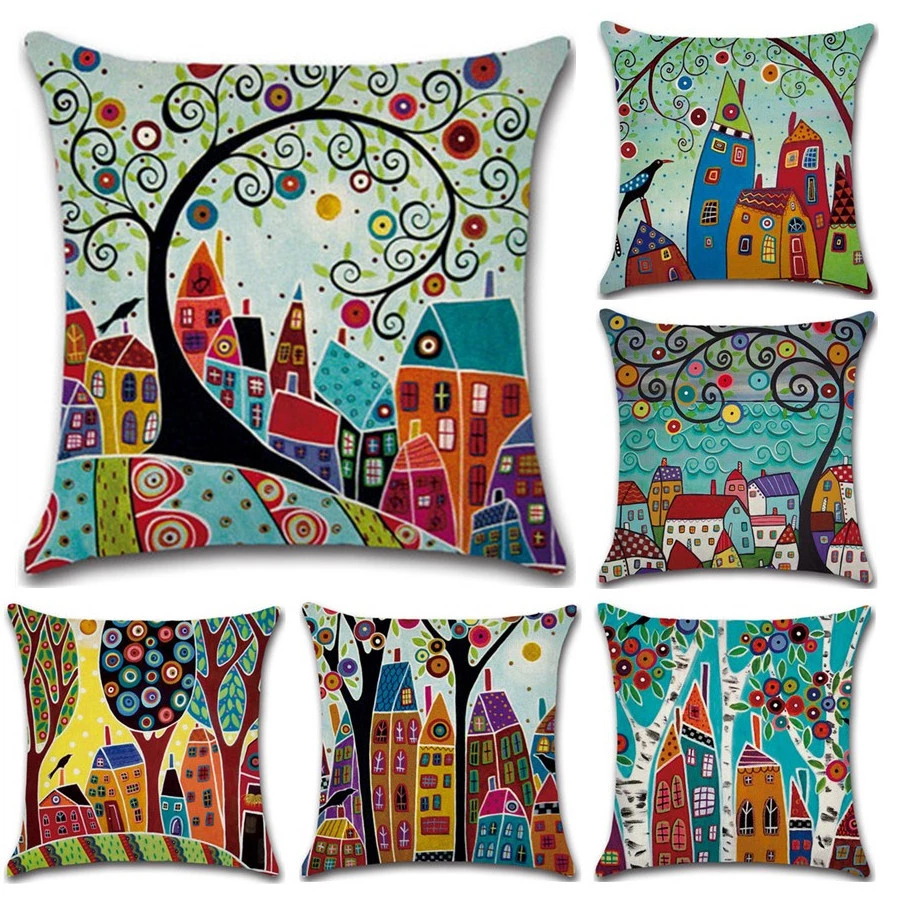Solid Color Cotton Cushion Cover Home Decor Sofa Car Throw Pillow Case 45*45cm