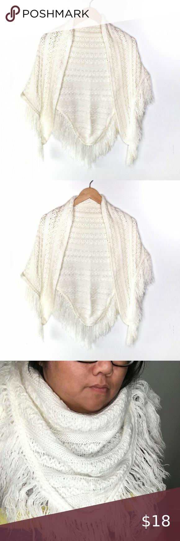 Photo of Vintage weiß gestrickten Dreieck Schal Schal Hübsche gestrickte Schal Kann eine Vielzahl getragen werden …