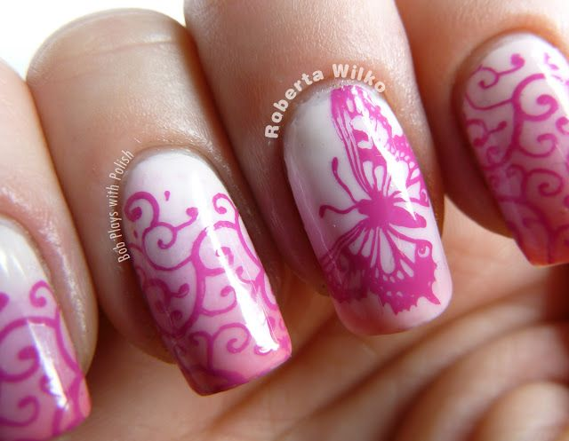 Pink Ombre Butterfly #NailArt is featured for #ManicureMonday from @robertawilko! Show off your nice nails at http://blog.aquariann.com/search/label/manicure%20monday?max-results=3