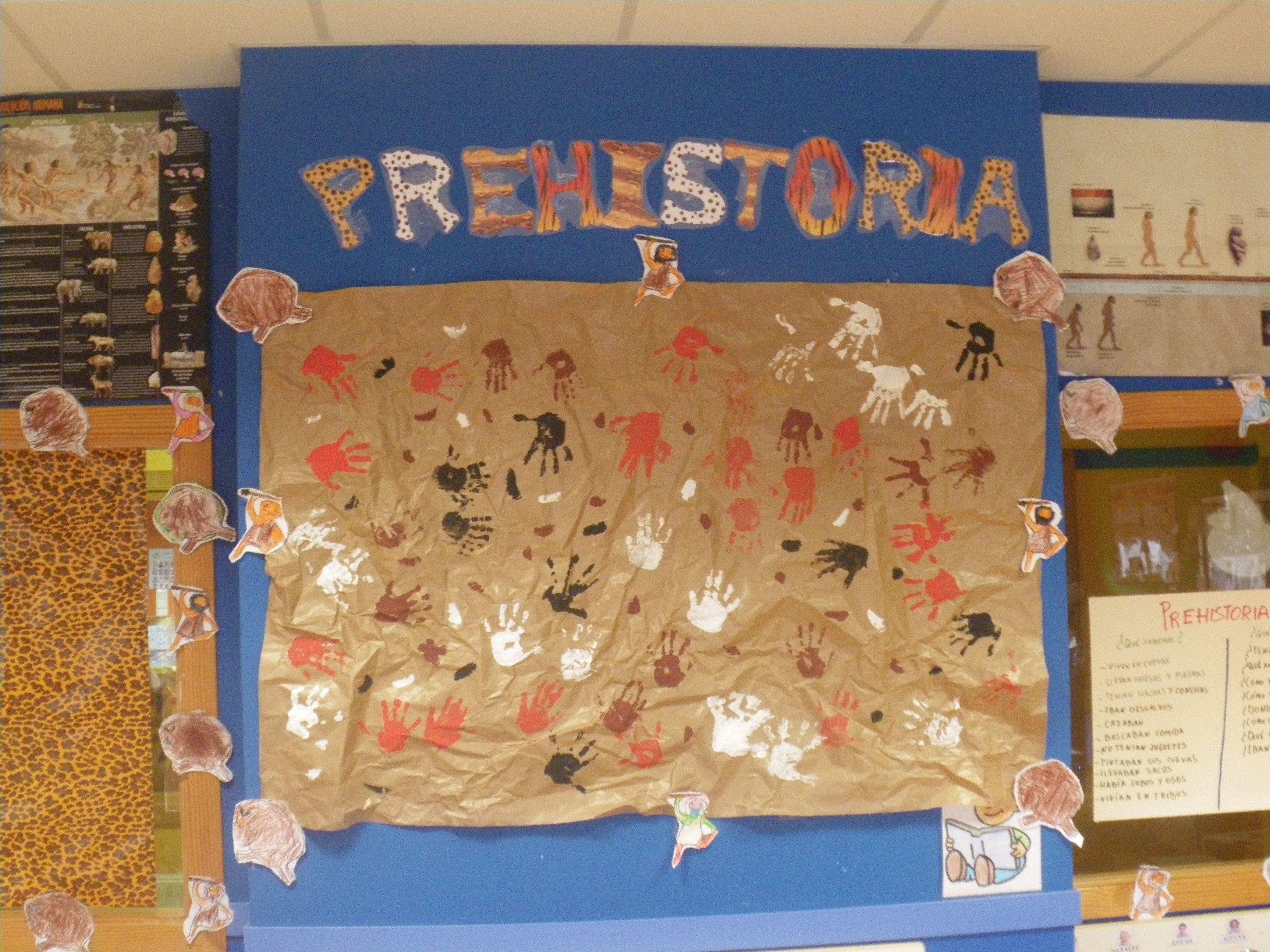 Infantil 4 a os mural pinturas rupestres la for Mural de la prehistoria
