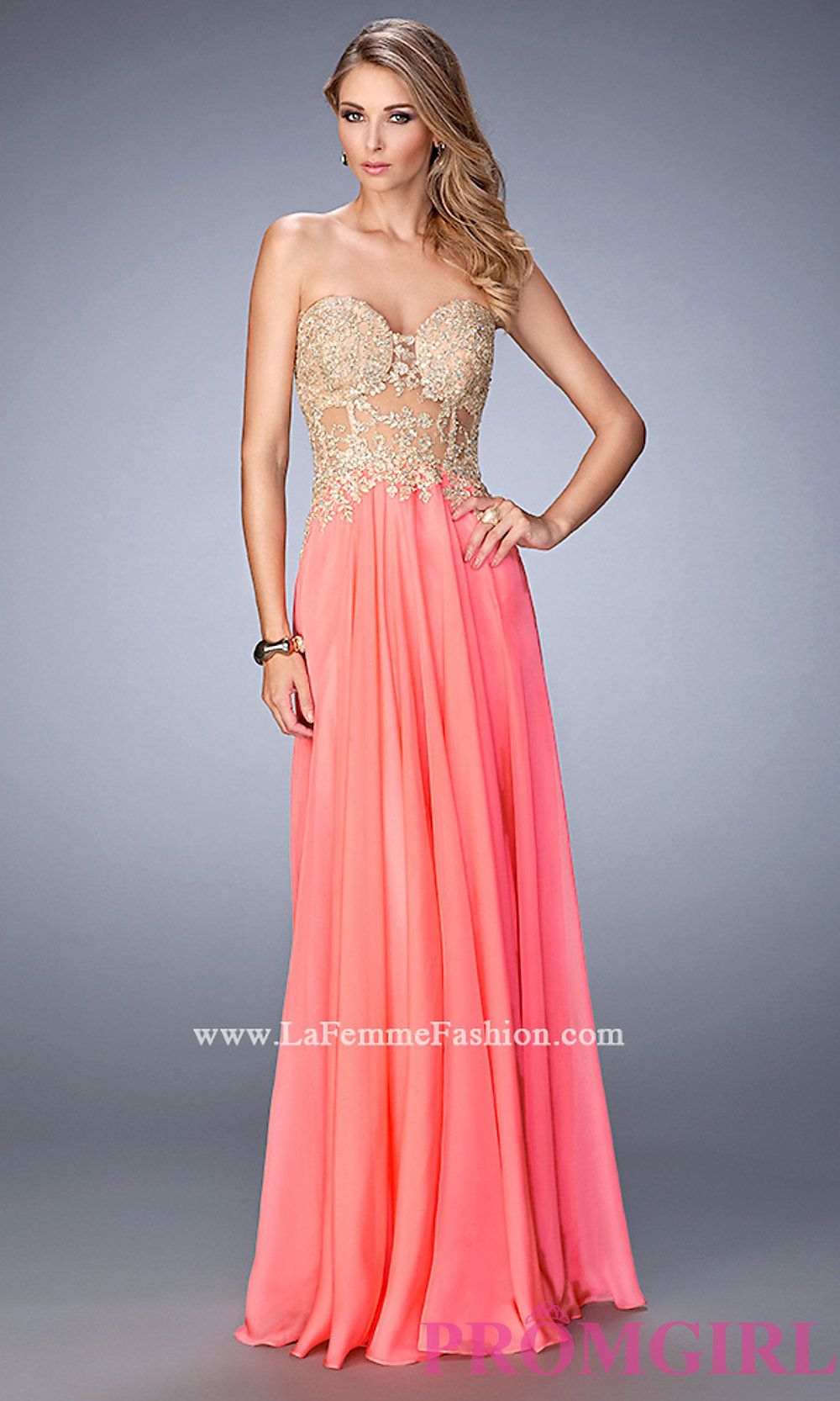 Long strapless dress with embroidered top style lf dresses