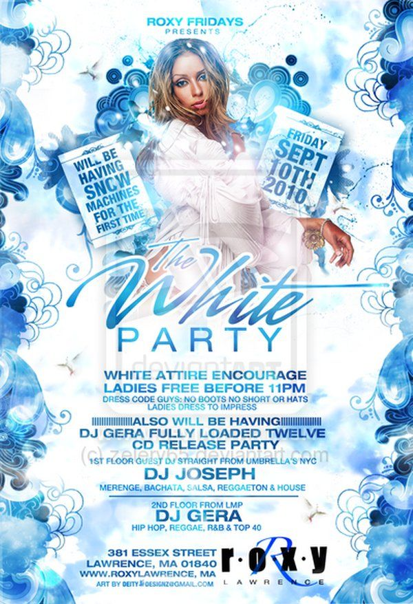 White Party Winter Wonderland Christmas Xmas NYE Flyer Example - examples of a flyer