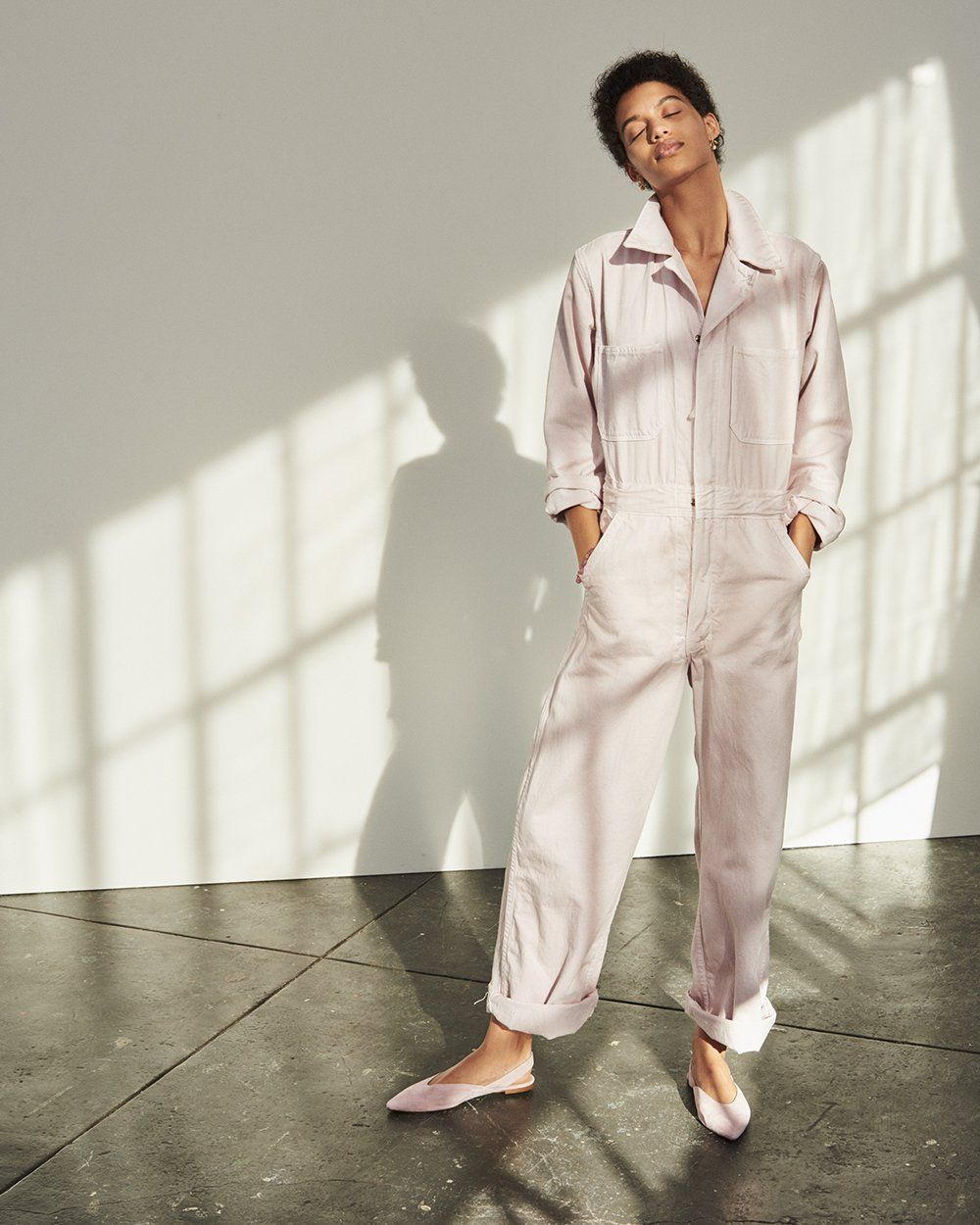 dda695293a92 as ever vintage coveralls worn with madewell ava slingback flat + flower  bud drop earrings.