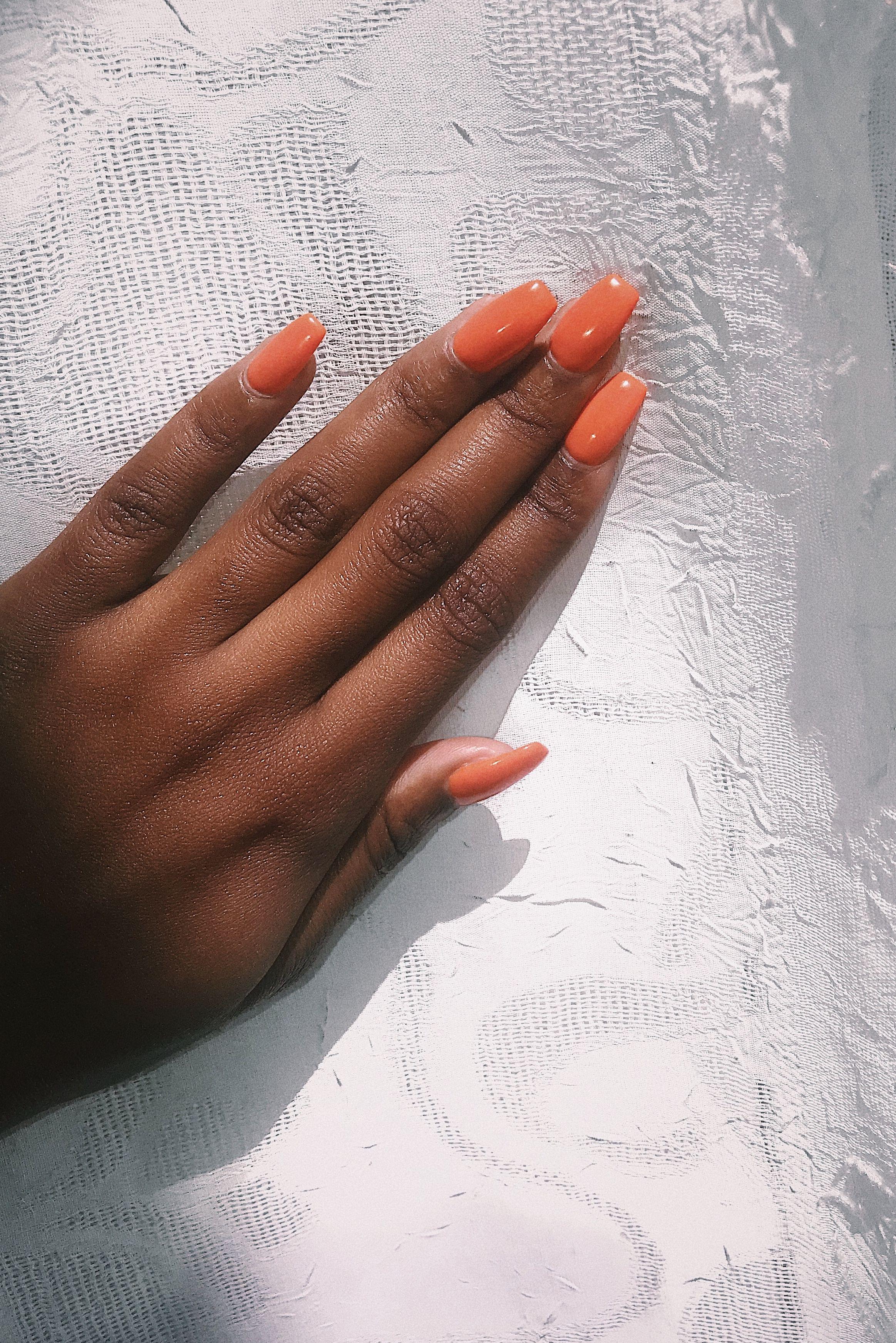 Orange Nail Polish On Darkskin Darkskin Orangenailpolish Gelnails Orange Nails Orange Nail Polish Dark Skin Nail Polish
