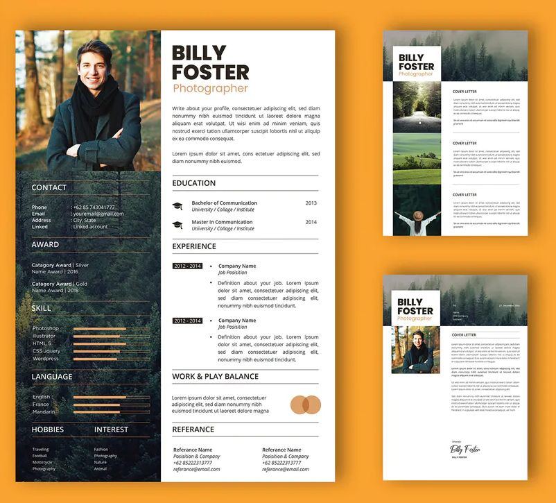 Professional Cv And Resume Template Billy By Uicreativenet On Envato Elements Resume Design Template Cv Design Template Resume Template