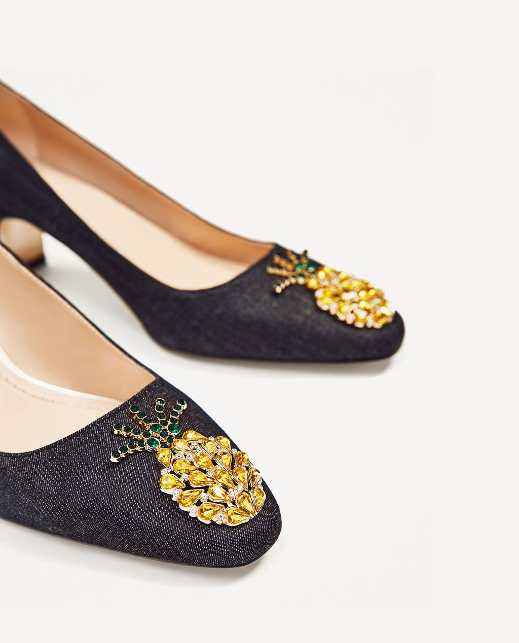 MID-HEEL DENIM SHOES WITH PINEAPPLE DETAIL-SHOES-SALE-WOMAN | ZARA