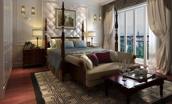 Classic-Luxurious-Sofa-Beds-for-Small-Bedrooms-Wooden-Coffee-Table-Bay-Window