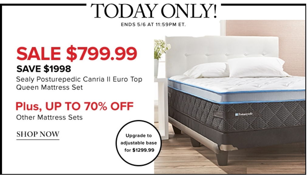 Hudsons Bay Canada Online Flash Sale Save 72 On Sealy Posturepedic Canria Ii Euro Top Queen Mattress Set Mo Queen Mattress Set Queen Mattress Mattress Sets